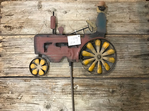 """34.5"""" x 11"""" Metal Red Tractor Garden Spinner Stake by Koppers Imports"""