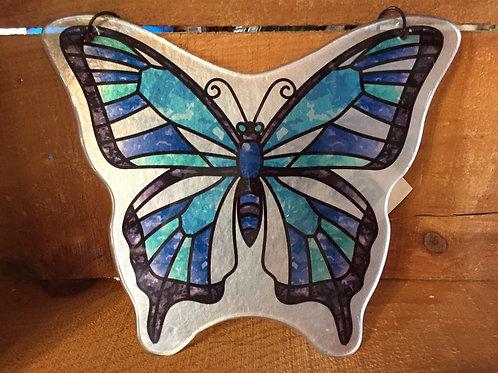 """9.5"""" x 8"""" Blue Butterfly Glass Suncatcher"""