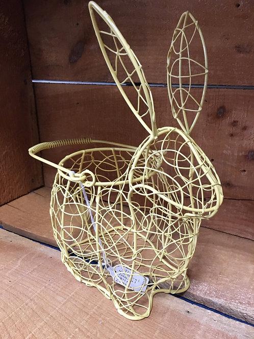 """Yellow 10"""" x 8"""" x 5"""" Metal Wire Bunny Rabbit Basket"""