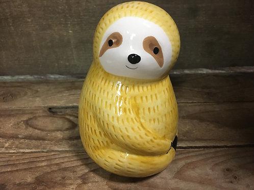 "Yellow 5"" x 3.5"" x 3.5"" Ceramic Sloth Piggy Bank by Nostalgia"