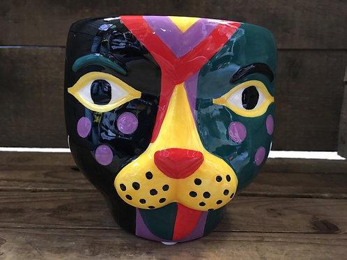 "5"" x 5"" x 4.75"" Leopard Face Ceramic Planter by Abbott"