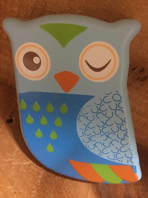 Blue Owl Wooden Maraca Toy