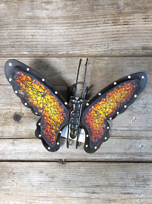 """Yellow and Orange 6"""" x 5"""" Planter Pot Hanging Metal and Glass Butterfly"""