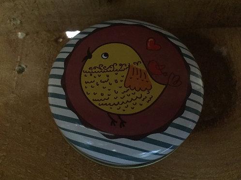 """Yellow Bird on Purple and Teal 2.5"""" Metal Mini Tin"""
