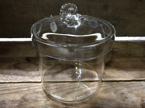 "4"" x 4"" x 4"" Clear Glass Optic Jar with Seashell Lid by Abbott"