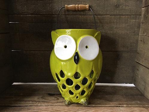 "8.5"" x 6.5"" x 5.5"" Green Ceramic Owl Votive Candle Holder"