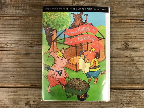 """""""Three Little Pigs"""" Storybook Birthday 7.5"""" x 5"""" Greeting Card by Cadoo"""