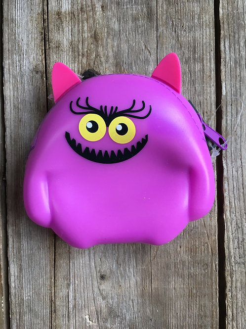 """Violet Monster 4.25"""" x 4"""" Silicone Coin Purse by GiftCraft"""