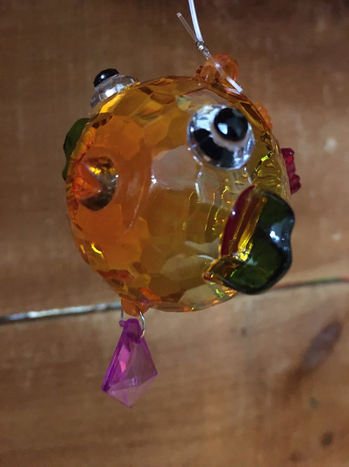 "Yellow, Green, and Red Acrylic 2.5"" x 2.5"" x 2"" Blowfish Suncatcher"