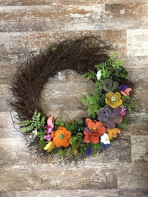 "16"" x 16"" x 4"" Rustic Flower and Twig Wreath by Abbott"