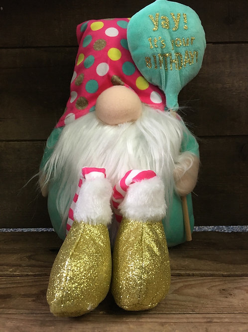 """""""Yay! It's Your Birthday"""" Teal with Polka Dots Gnome Shelf Sitter by GiftCraft"""