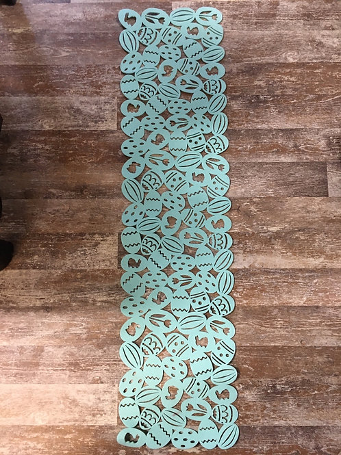 "46"" x 11.5"" Teal Felt Easter Egg Patterned Table Runner by Abbott"