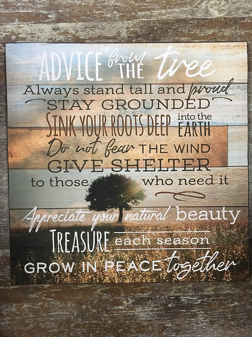 """""""Advice from the Tree"""" Wall Sign - 16"""" x 16"""""""