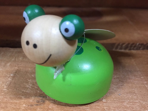 Green Frog Wooden Pullback Racing Toy