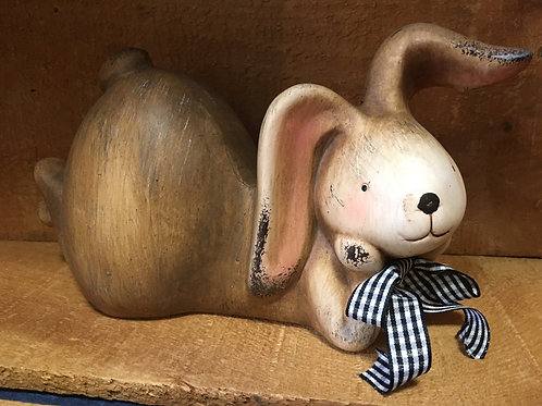 """9"""" x 4"""" x 5"""" Brown Bunny Rabbit with Black and White Check Bow from Koppers Impo"""