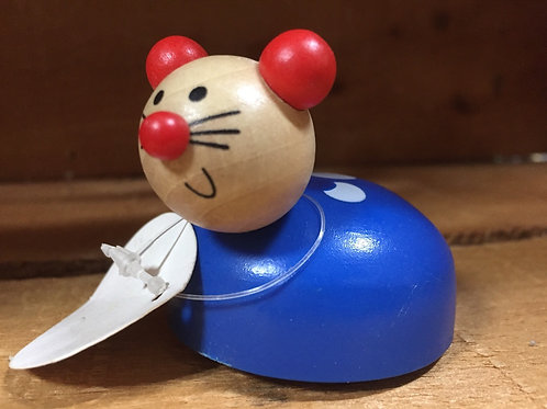Blue Mouse Wooden Pullback Racing Toy
