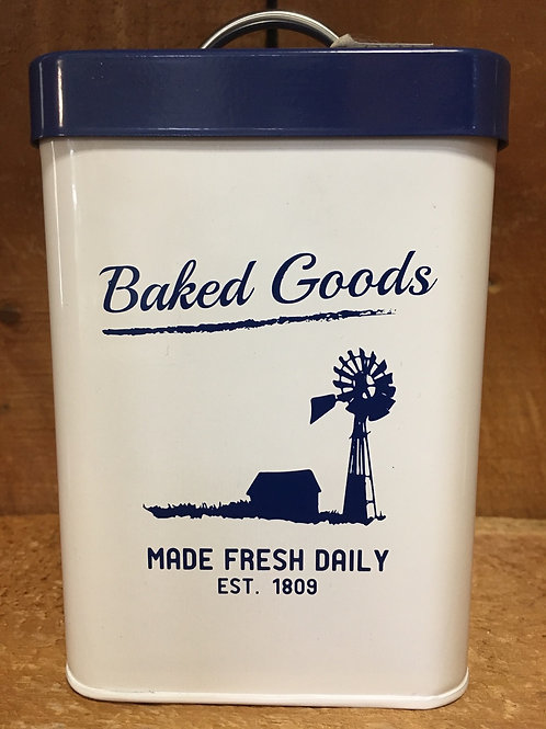 """5.5"""" x 3.5"""" x 3.5"""" Blue """"Baked Goods"""" Enamel Metal Canister by Amici"""