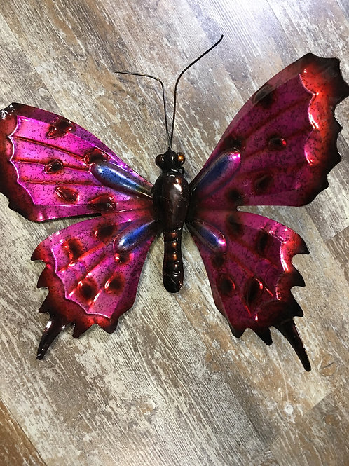 Pink Butterfly Metal Wall Art