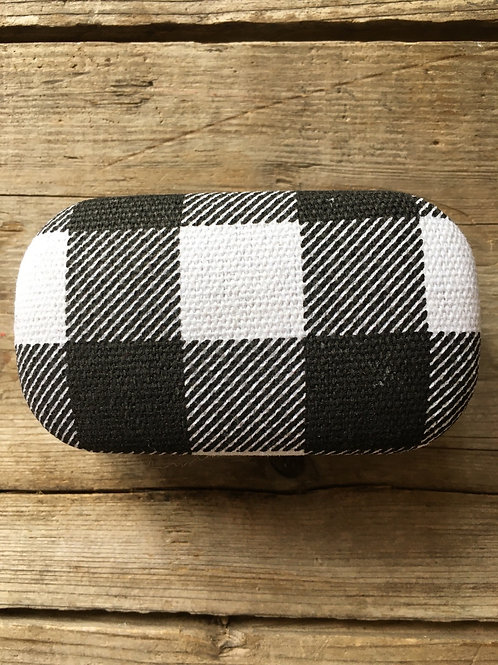 """White and Black Checked Fabric 3.5"""" x 2"""" x 1.5"""" Mini Travel Case by Kikkerland"""