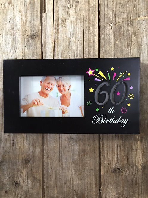 """""""60th Birthday"""" 11.5""""x6.25"""" Light Up 4x6 Sitting or Hanging Photo Picture Frame"""