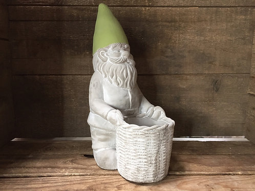 "10"" x 6"" x 4"" Gnome with Basket Concrete Planter by Abbott"