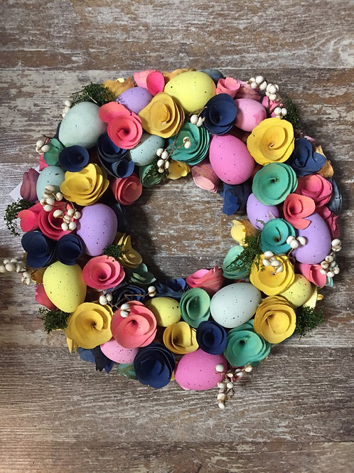 """13"""" x 13"""" x 3"""" Rustic Flower Wreath with Eggs by Abbott"""