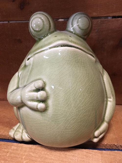 """8"""" x 6"""" x 6"""" Chubby Frog Ceramic Garden Statue"""