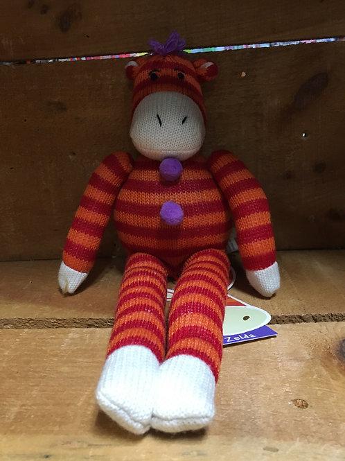 "13"" Zelda the Zebra Sock Monkeez & Friends Brand Plush Stuffed Animal"