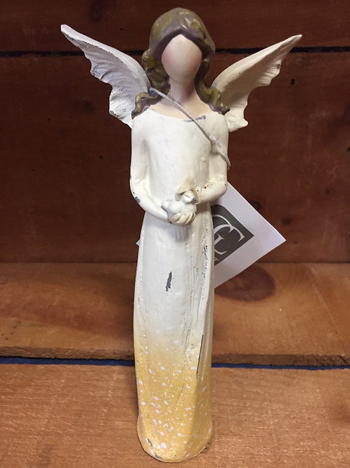 Yellow Resin Angel Statue by GiftCraft
