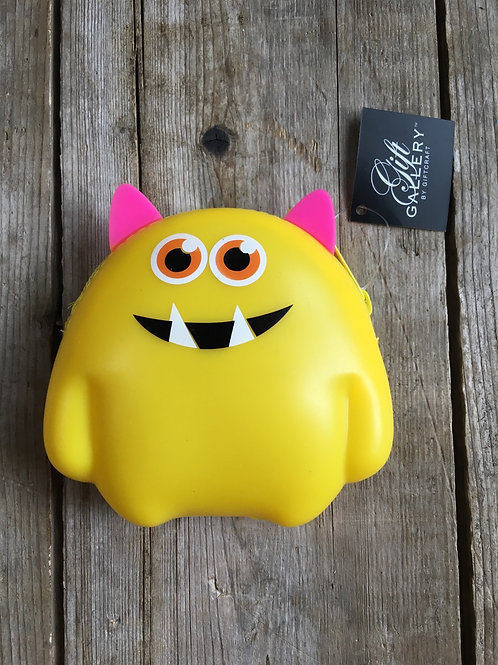 """Yellow Monster 4.25"""" x 4"""" Silicone Coin Purse by GiftCraft"""