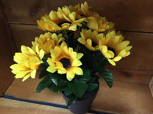"""11"""" x 8"""" x 8"""" Plastic and Fabric Sunflower Bouquet"""