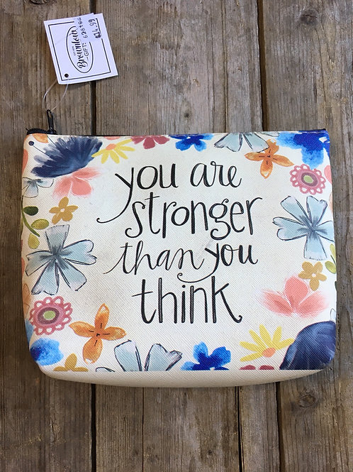 """""""You Are Stronger than."""" 8.5"""" x 6"""" x 2.5"""" Zippered Make Up Bag by Brownlow Gifts"""