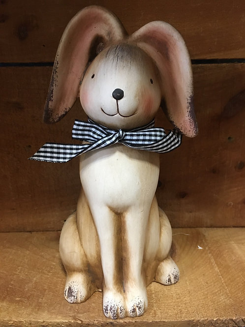 "9"" x 4"" x 5"" Brown Bunny Rabbit with Black and White Check Bow from Koppers Impo"