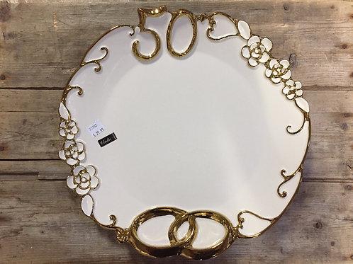 "12.75 x 12.75"" ""50th Anniversary"" Ceramic Platter by Verdici"
