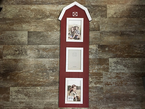 "28.75"" x 8"" Red Barn 3 4x6 Photo Collage Frame by Prinz at Home"