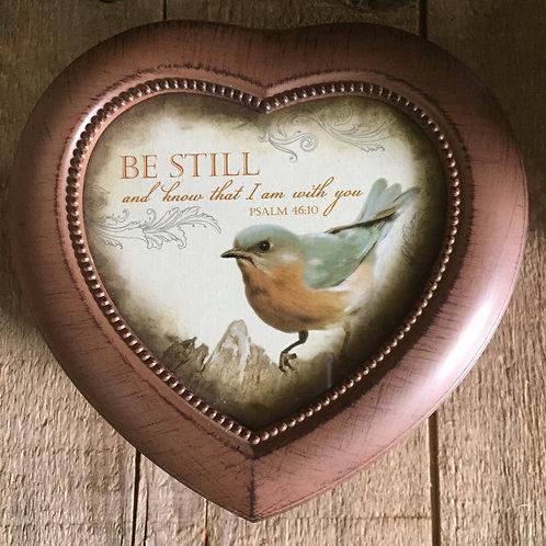 "5.5"" x 5.5"" x 2.5"" Brown Heart Shaped Customizable Musical Jewelry Box"