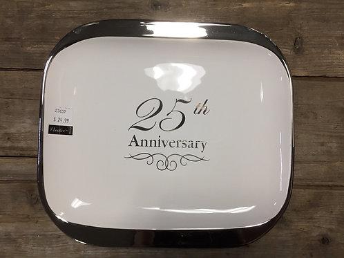 "11"" x 9.75"" ""25th Anniversary"" Ceramic Platter by Verdici"