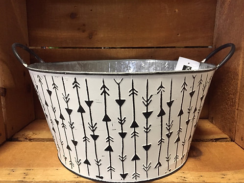 """White Striped 11.75"""" x 11.75"""" x 6"""" Metal Planter Basket"""
