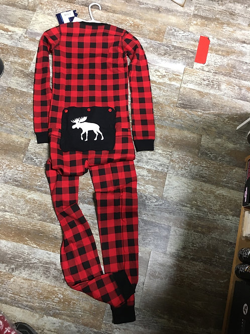 Youth Union suit -Red Plaid with Moose