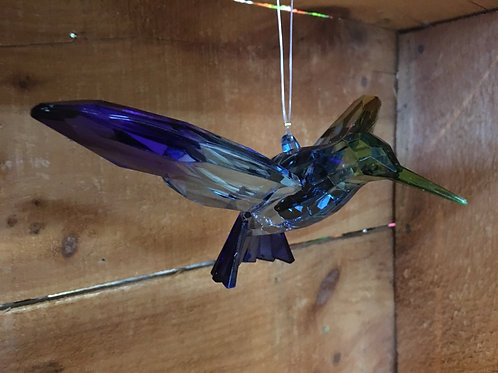"Blue and Purple 7"" x 5"" x 2"" Hummingbird Suncatcher"