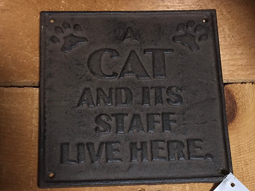 """""""A Cat and its Staff..."""" Cast Iron Plaque - 7.5"""" x 7.5"""""""