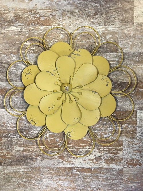 """Yellow 17.25"""" x 17.25"""" Metal Hanging Flower by Koppers Imports"""
