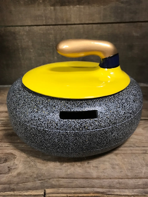 """Yellow Curling Rock 7"""" x 7"""" x 4.5"""" Polyresin Piggy Bank by Elby Gifts"""