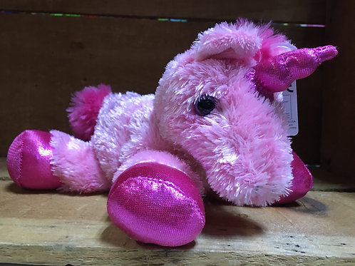 "7"" Bright Pink Unicorn Aurora Brand Plush Stuffed Animal"