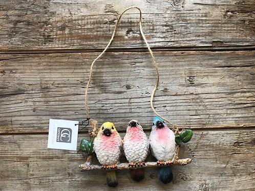"7.5"" x 4"" x 2"" Ceramic Hanging Bird Trio Figurine by GiftCraft"