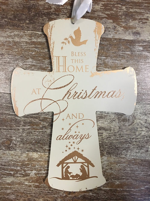 """Bless this Home..."" Hanging Christmas Cross - 11"" x 8"""