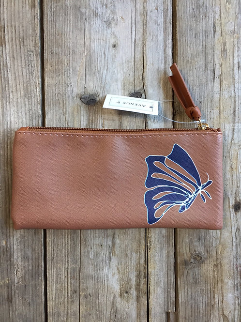 """Butterfly 8"""" x 4"""" Avenue 9 Vinyl Zippered Pouch by GiftCraft"""