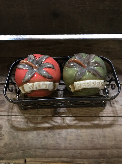 """Tomato Shaped Ceramic Salt and Pepper Set in Metal 6"""" x 3.25"""" Tray by Grasslands"""