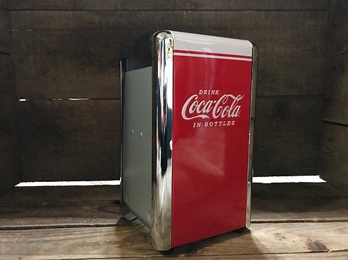 "7.5"" x 4.5"" x 4"" Metal Coca-Cola Licensed Napkin Dispenser -Napkins Not Included"