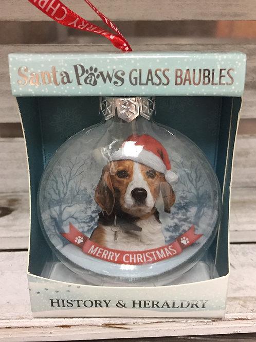 Santa Paws Glass Baubles - Beagle
